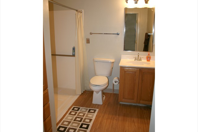 View of handicapped accessible bathroom